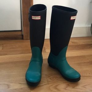 Teal and black hunter boots